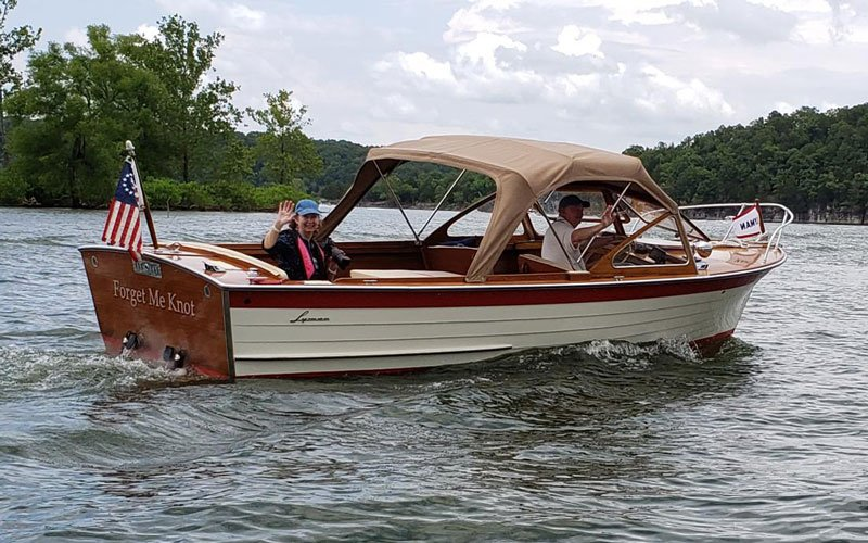 "1961 Lyman Runabout named ""Forget Me Knot"" owned by Buzz and Ginny Baumann"