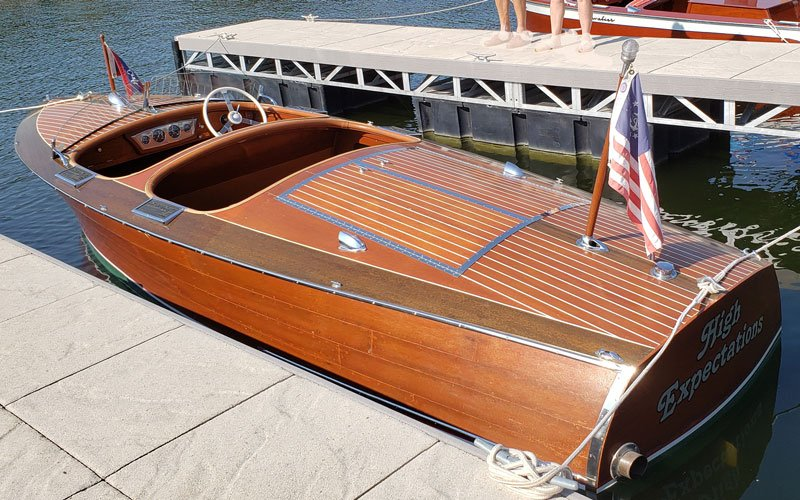 "1937 Chris Craft 19' Custom named ""High Expectations"" owned by Bob and Linda Kanak"