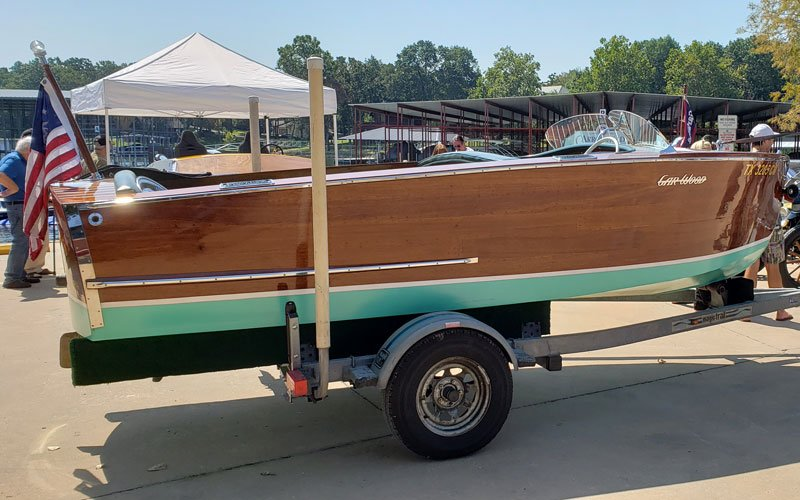 "1946 Gar Wood 16' Ensign named ""Ngo said Yes"" owned by Scott and Thuy Ngo Myers"