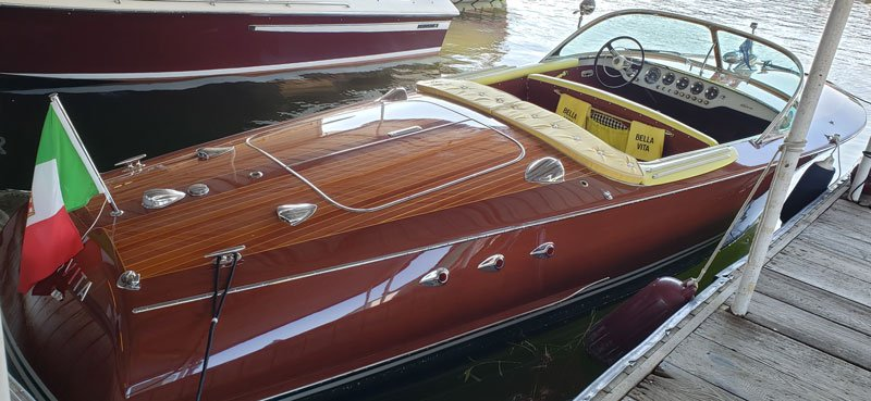 1959 Riva 21' Ariston named Bella Vita owned by Dan and Alicia Diehl.