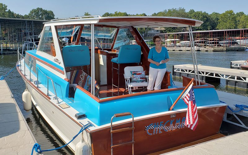 "1966 Chris Craft 35' Sea Skiff named ""Checkmate"" owned by Dan and Alicia Diehl"