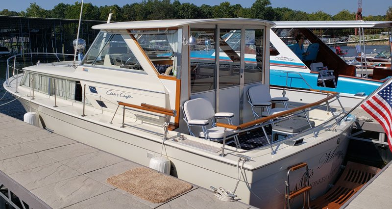 "1971 Chris Craft 31' Commander named ""Miss Moneypenny"" owned by David and Lisa White"
