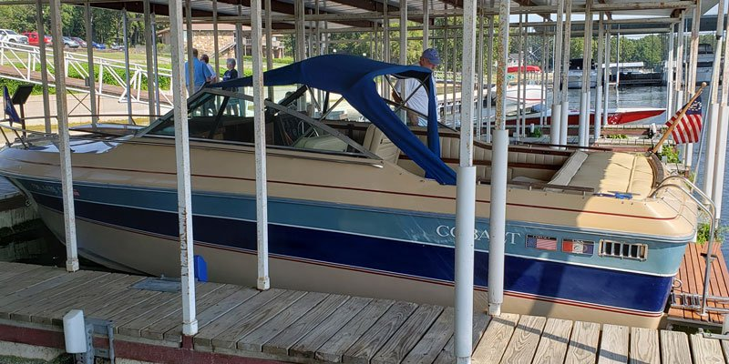 "1987 Cobalt 23'Condessa named ""Wax On Wax Off"" owned by Scott and Linda Hendren"